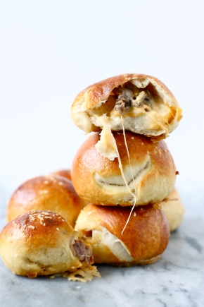 steak and cheese stuffed pretzel bites
