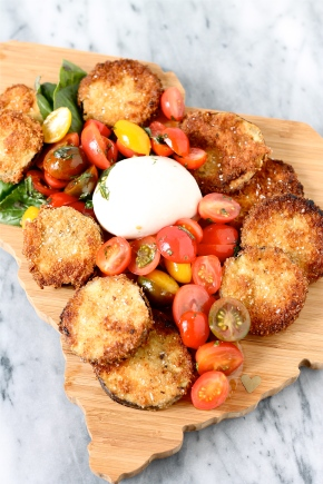 Fried Eggplant, Tomatoes, and Burrata