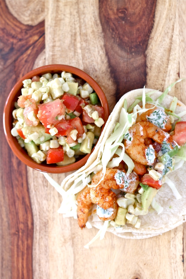 Shrimp Tacos with Avocado Corn Salsa and Herb Crema