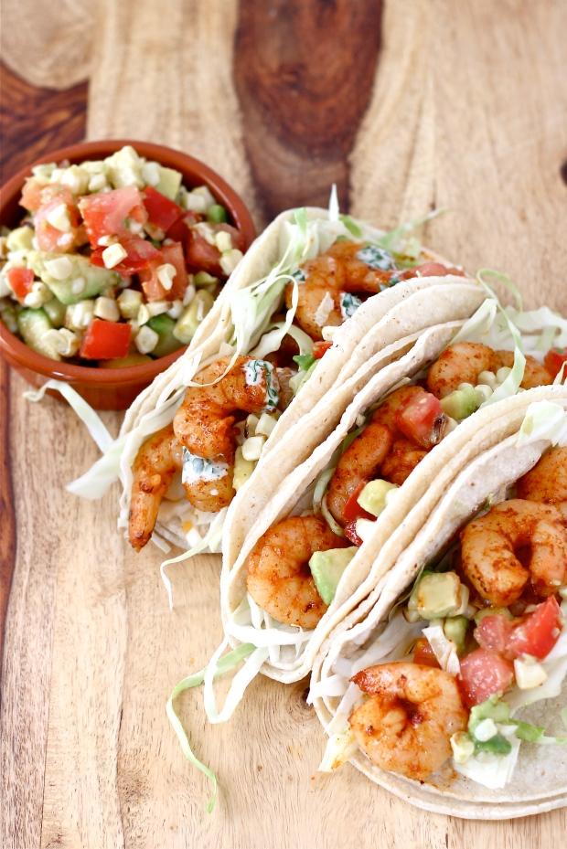 Shrimp Tacos with Avocado Corn Salsa and Herb Crema